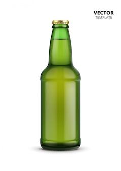 Makieta butelki piwa szklane na białym tle