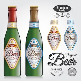 Makieta butelki wektor i projekt etykiety premium piwa