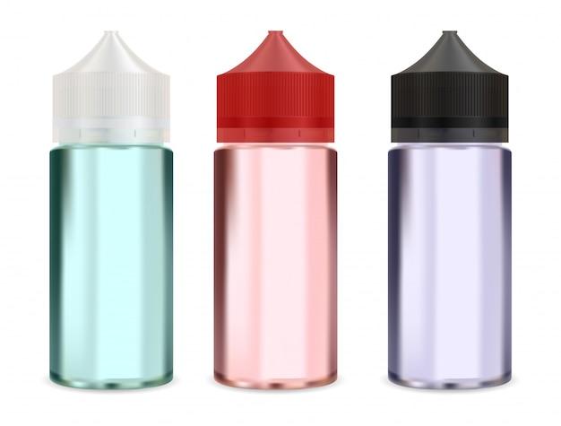 Makieta butelki z kroplomierzem. puste opakowanie parowe