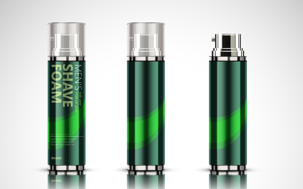 Makieta butelki z pianki do golenia, puste butelki kosmetyczne ustawione na zielono, ilustracja 3d