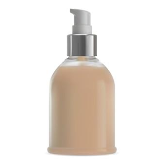 Makieta butelki z pompką do makijażu. opakowanie kosmetyczne szamponu. zestaw dozownika bezpowietrznego podkładu bb cream. żel do rąk, szablon wektor rurki mydła. pusty pojemnik na balsam do kąpieli