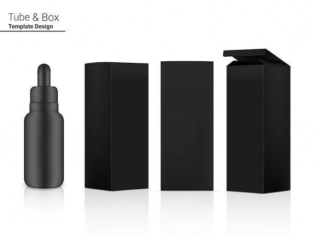 Makieta butelki z zakraplaczem realistyczny kosmetyk i 3 strony pudełka na niezbędne artykuły do pielęgnacji skóry