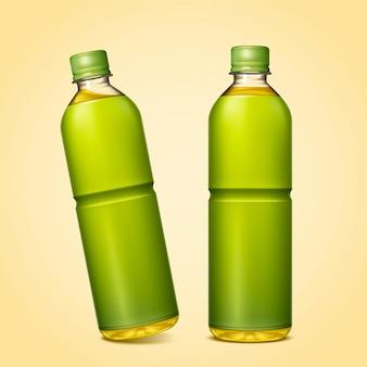 Makieta butelkowanej zielonej herbaty z pustym pakietem na ilustracji 3d