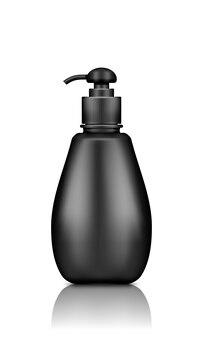 Makieta czarnej plastikowej butelki pompy na białym tle do projektowania opakowań