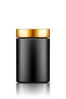 Makieta czarnej plastikowej butelki słoika z goldencap na białym tle