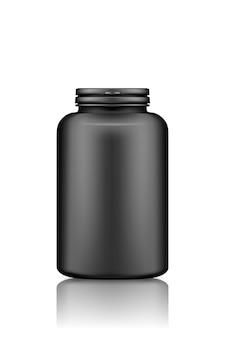 Makieta czarnej plastikowej butelki suplementu lub leku na białym tle