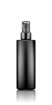 Makieta czarnej plastikowej pompy serum z przezroczystą nakrętką na białym tle