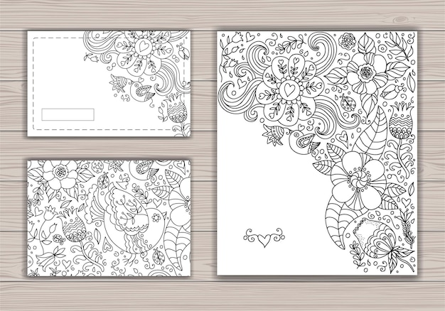 Makieta czarno-biała karta ślubu z abstrakcyjnym tłem z rysunkiem konturowym kwiatów i ptaków.