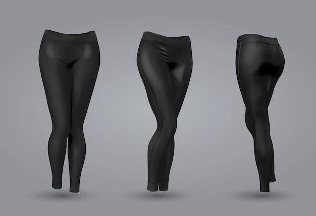 Makieta czarnych legginsów dla kobiet.