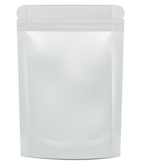 Makieta doypack z pustą folią do żywności lub napojów. ilustracja na białym tle. koncepcja graficzna dla twojego projektu