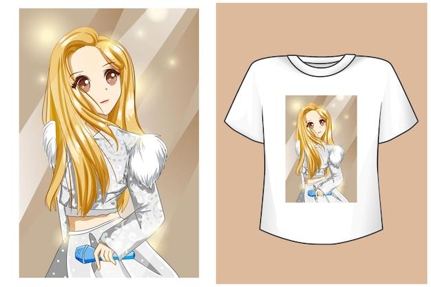 Makieta dziewczyna ubiera się w białą sukienkę