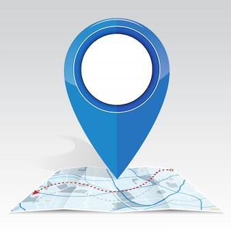 Makieta ikony gps na mapie koloru niebieskiego