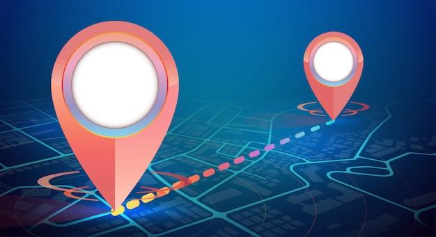 Makieta ikony gps na mapie miasta połącz 2 punkty