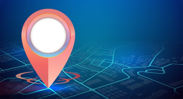 Makieta jednego gps pin na mapie miasta i wolnej przestrzeni