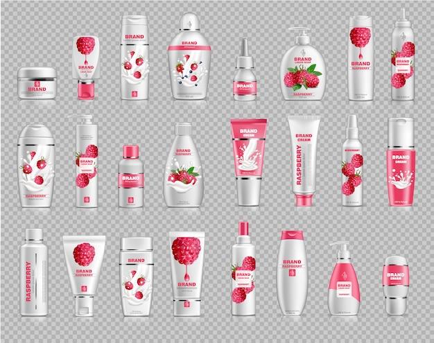 Makieta kolekcji kosmetyków malinowych