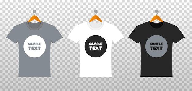 Makieta koszulek z miejscem na twój projekt w stylu flat. letnia odzież z przodu