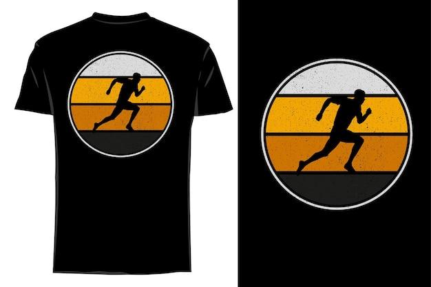 Makieta koszulki o sylwetce biegnącej w klasycznym stylu retro vintage