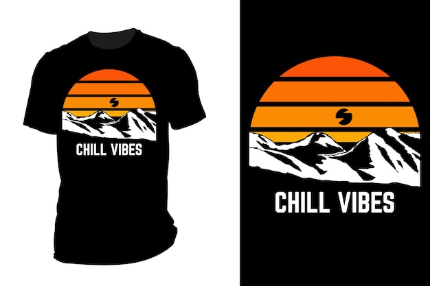 Makieta koszulki o sylwetce chłodne wibracje retro vintage