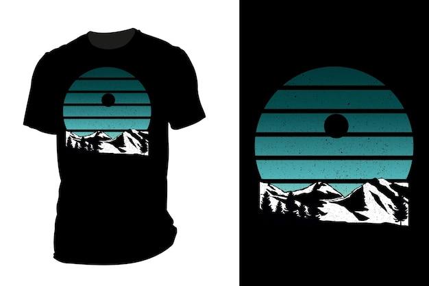 Makieta koszulki sylwetka góra retro vintage