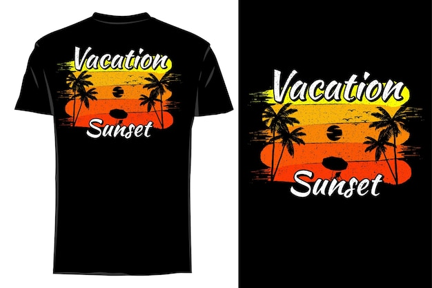 Makieta koszulki sylwetka lato wakacje zachód słońca retro vintage