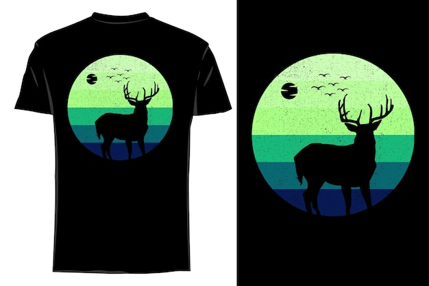 Makieta koszulki sylwetka natura jeleń retro vintage