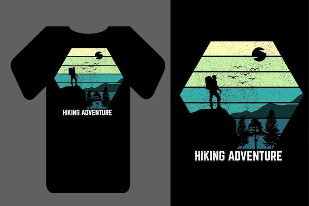 Makieta koszulki sylwetka turystyka przygoda retro vintage