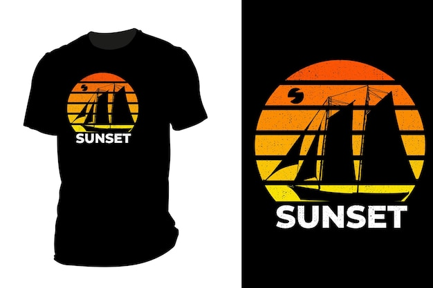 Makieta koszulki sylwetka zachód słońca retro vintage