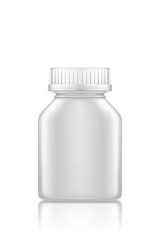 Makieta kwadratowa butelka medycyny na białym tle. projekt opakowania z tworzywa sztucznego.