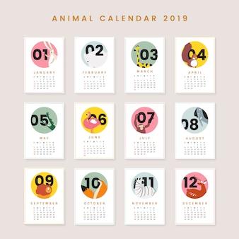 Makieta ładny kalendarz zwierząt