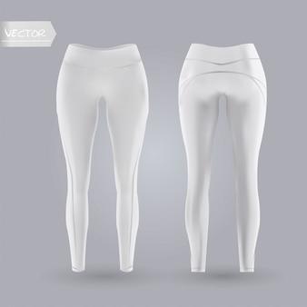 Makieta legginsy damskie z przodu iz tyłu, na białym tle na szarym tle. 3d realistyczne ilustracji wektorowych.