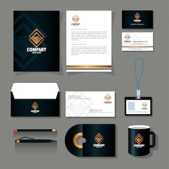 Makieta marki identyfikacji wizualnej, materiały piśmienne, kolor czarny ze złotym znakiem