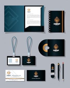 Makieta marki tożsamość korporacyjna, makieta materiałów piśmiennych w kolorze czarnym z projektem ilustracji wektorowych złoty znak