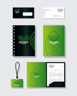 Makieta materiałów piśmiennych w kolorze zielonym z liśćmi znaku, identyfikacja wizualna
