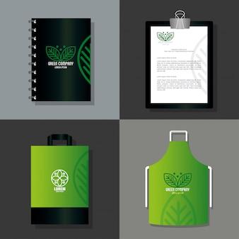 Makieta materiałów piśmiennych w kolorze zielonym z liśćmi znaku, tożsamość korporacyjna
