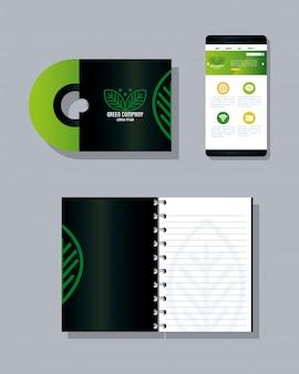 Makieta materiałów piśmiennych w kolorze zielonym ze znakiem liści, zielonym identyfikatorem korporacyjnym