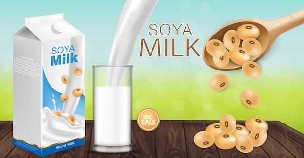 Makieta Mleka Sojowego Premium Wektorów
