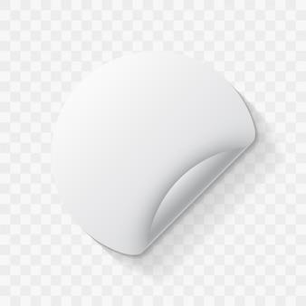 Makieta naklejek z białego okrągłego papieru z zakrzywionym rogiem i płaskim cieniem