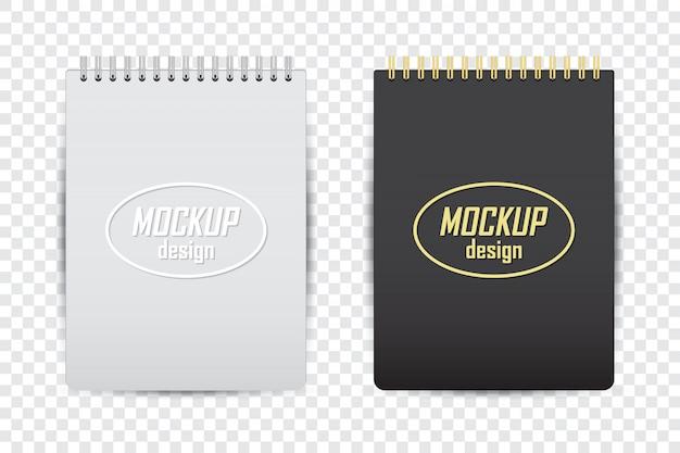 Makieta notebooka w dwóch kolorach z cieniem na przezroczystym tle