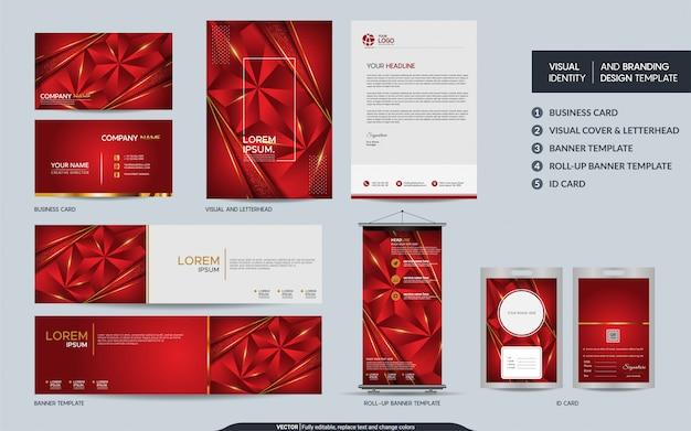Makieta nowoczesnej czerwonej wielokąta papeterii i wizualna tożsamość marki z abstrakcyjnymi nakładającymi się warstwami