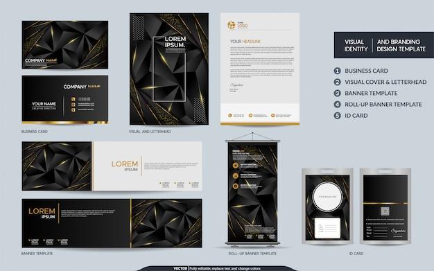 Makieta nowoczesnej wielokątnej papeterii z czarnego złota i wizualna tożsamość marki z abstrakcyjnymi nakładającymi się warstwami