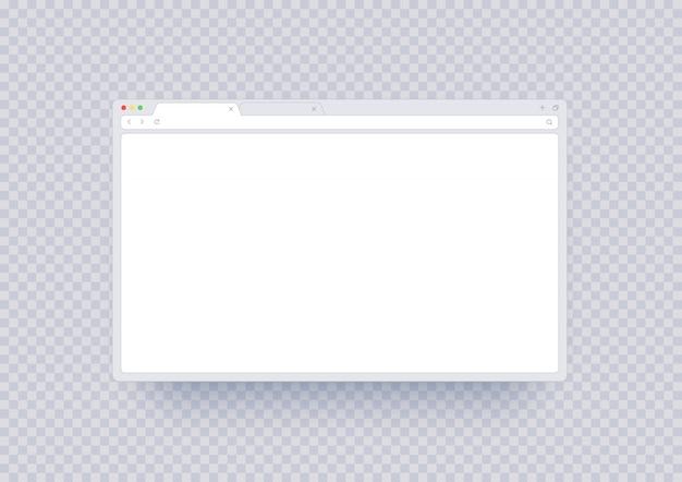 Makieta okna przeglądarki, abstrakcyjny szablon ekranu z pustym miejscem. interfejs strony internetowej z paskiem narzędzi i linią wyszukiwania w nowoczesnym stylu na białym tle.