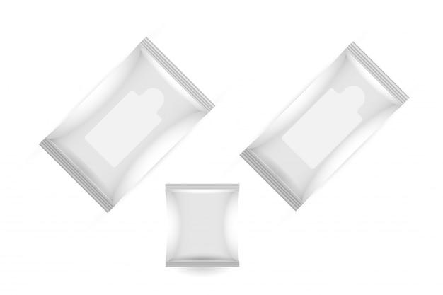 Makieta pakietu białych chusteczek nawilżanych