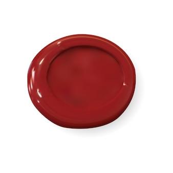 Makieta pieczęci woskowej. okrągły czerwony znaczek, 3d wektor medalion na białym tle. realistyczny stary sygnet, projekt etykiety listowej. poufny emblemat certyfikatu