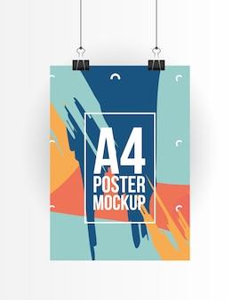 Makieta plakatu a4 z klipsami projektu szablonu identyfikacji wizualnej i motywu brandingowego