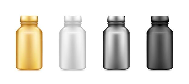 Makieta plastikowych butelek złota, srebra, czarnego suplementu na białym tle