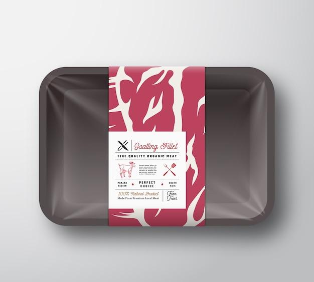 Makieta pojemnika na filety z koziego mięsa najwyższej jakości. opakowania na papier mięsny