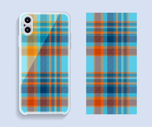Makieta projektu obudowy smartfona. szablon geometryczny wzór tylnej części telefonu komórkowego.