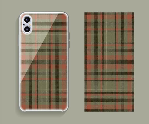Makieta projektu okładki smartfona. szablon geometryczny wzór na tylnej części telefonu komórkowego. płaska konstrukcja.