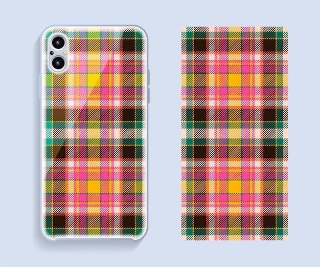 Makieta projektu okładki smartfona. szablon geometryczny wzór na tylnej części telefonu komórkowego.