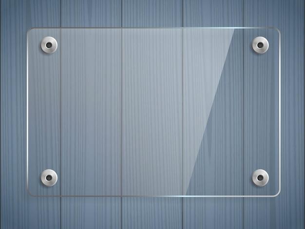 Makieta przezroczystej szklanej płyty. niebieskie drewniane tła. przejrzyj plastikowy baner, uchwyty. element projektu graficznego. panel dekoracyjny z odbiciem i cieniem. zdjęcie realistyczne ilustracji wektorowych